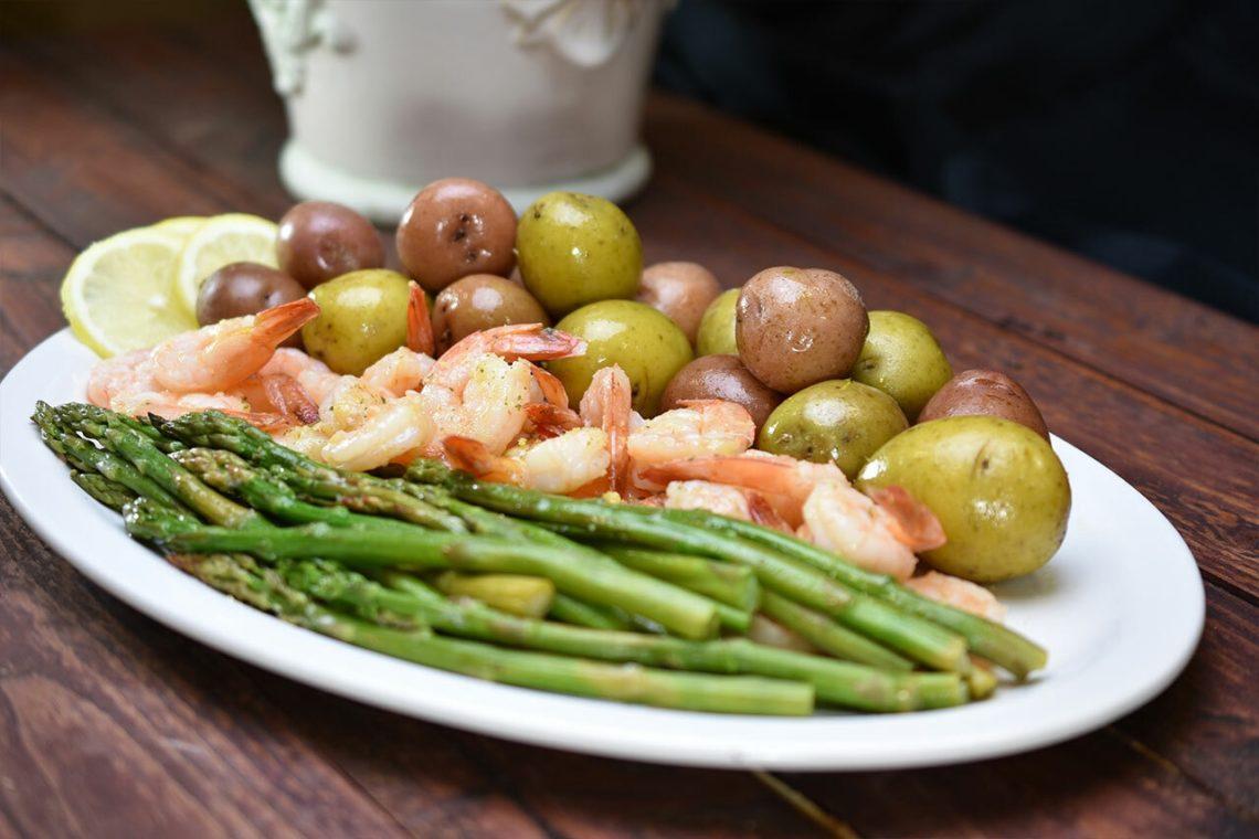 Garlic & Lemon Shrimp, Asparagus and New Potatoes