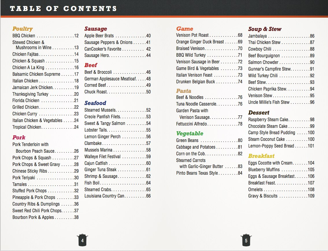 CanCooker Cookbook table of contents