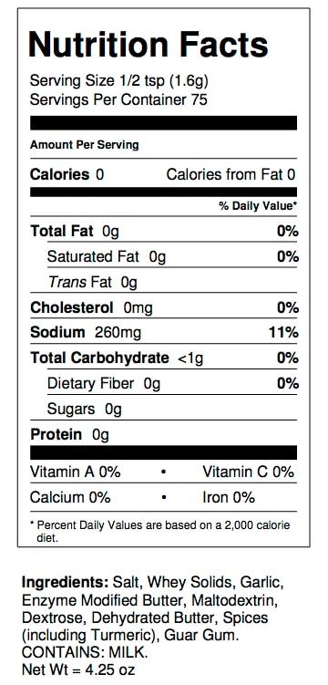 butter garlic nutrition facts