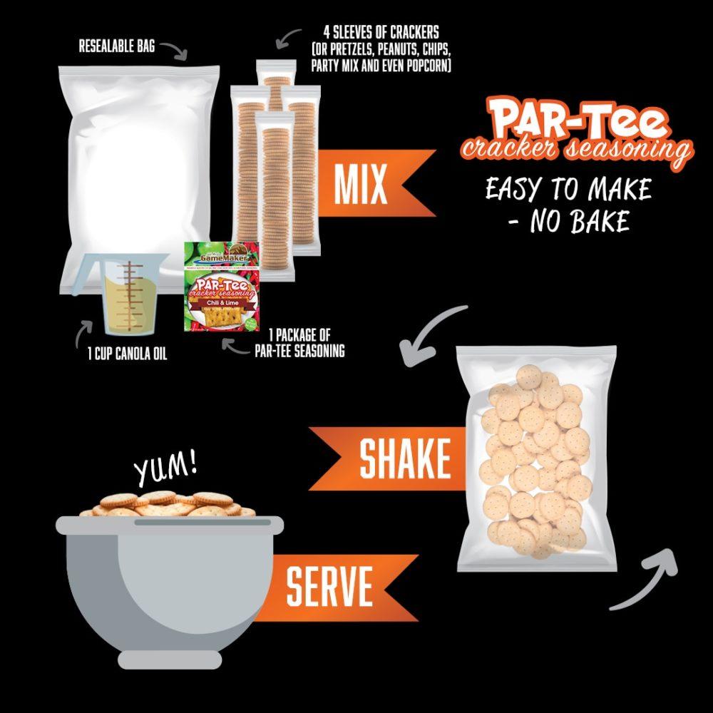 garlic & parmesan par tee cracker seasoning infographic