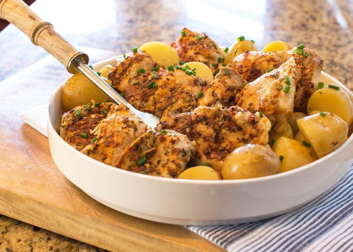 Garlic Butter Chicken Thighs with Baby Potatoes